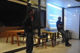 Vicky & Hezron discussing HTML 5 at kLab